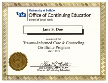 sample frameable certificate of completion for the trauma-informed care and counseling program.
