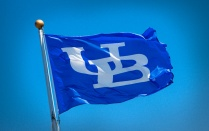 blue flag with UB logo
