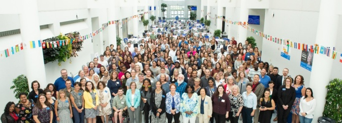 students, faculty, and staff group photo at orientation 2018.