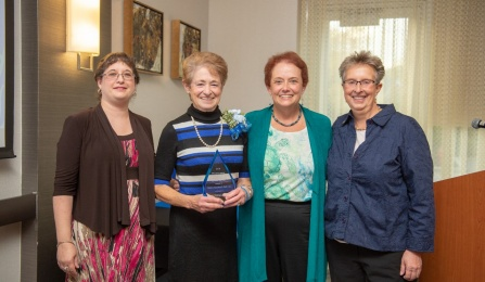 Distinguished Alumni Award Recipients 2017, pictured left to right Associate Professor Kate Kost, Al Dirschberger, PhD recipient, UBSSW Alumni Association Rita Andolina, and Ellen Fink-Samnick, MSW recipient.