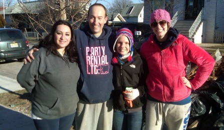 MSW students volunteering for clean-up after Hurricane Sandy.