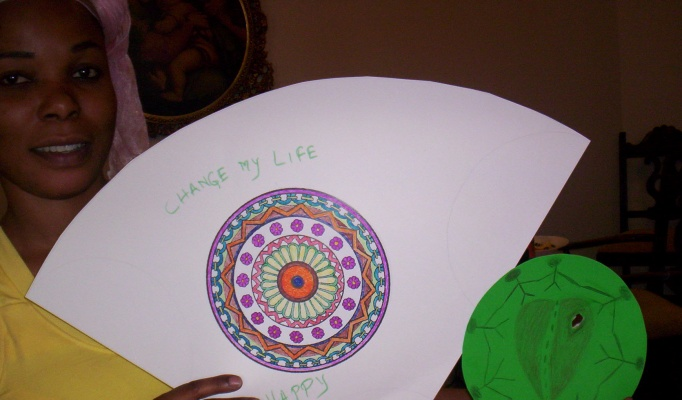 Trauma Support group participant with mandala.